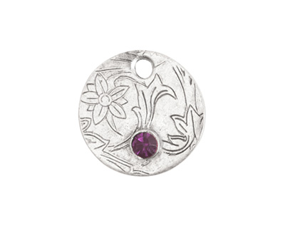 Nunn Design Antique Silver (plated) Decorative Small Circle Tag w/ Amethyst Crystal 20mm