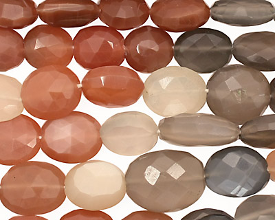 Moonstone (multi) Faceted Flat Oval 9-12x8-11mm