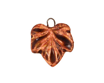 Earthenwood Studio Ceramic Rusty Small Wavy Leaf Charm 18x21mm