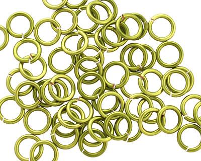 Peridot Enameled Copper Round Jump Ring 6.5mm, 18 gauge