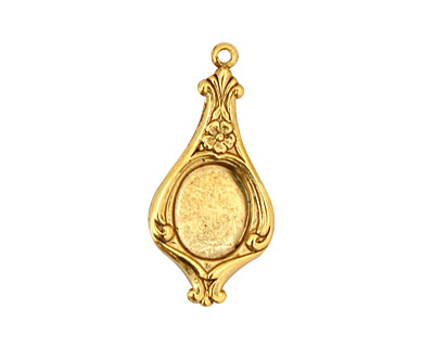 Stampt Antique Gold (plated) Floral Pendulum Oval Setting 8x10mm