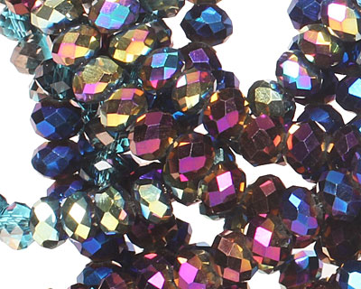 Peacock Metallics Crystal Mix Faceted Rondelle 4mm
