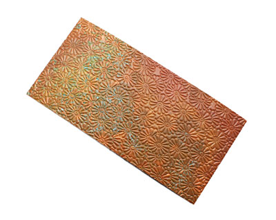 Lillypilly Rojo Raised Flower Embossed Patina Copper Sheet 3