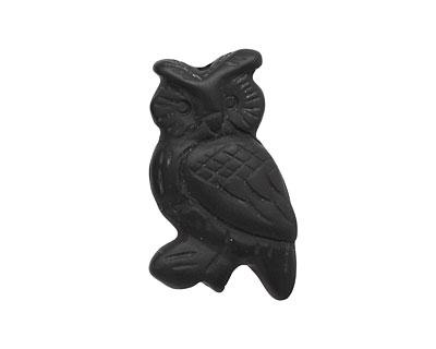 Black Onyx (matte) Carved Owl 32-35x18-20mm