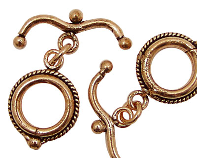 Antique Copper Fancy Toggle Clasp with Wavy Bar 17mm, 29mm Bar