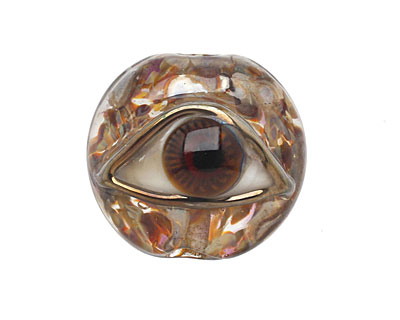 Grace Lampwork Brown Eyed Lentil Focal Bead 27-28mm