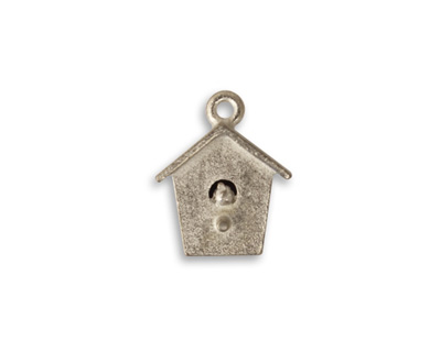 Vintaj Pewter Bird House 14x17mm