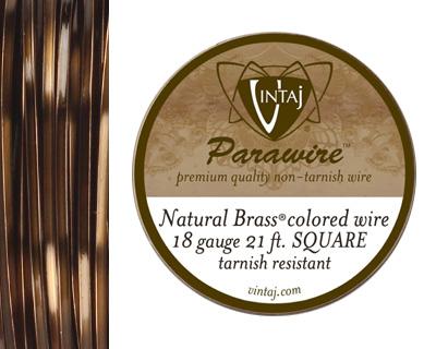 Vintaj Natural Brass Square Parawire 18 gauge, 21 feet