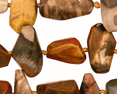Madagascar Petrified Wood Side Faceted Nugget 9-22x9-26mm