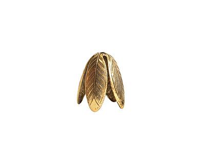 Nunn Design Antique Gold (plated) 14mm Grande Leaf Bead Cap 14x20mm