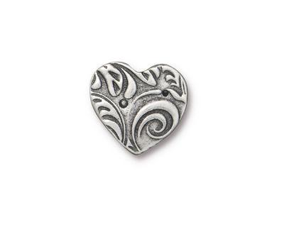 TierraCast Antique Pewter (plated) Amor Heart Button 15x14mm