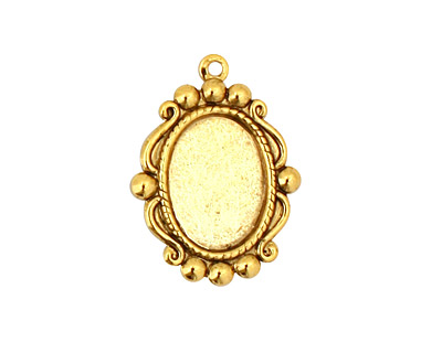 Stampt Antique Gold (plated) Looking Glass Oval Setting 10x14mm