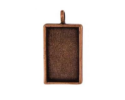 Nunn Design Antique Copper (plated) Large Rectangle Bezel Pendant 22x42mm