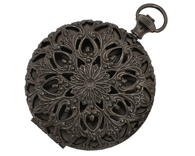 Gunmetal Round Filigree Timepiece Heirloom Locket 45x60mm