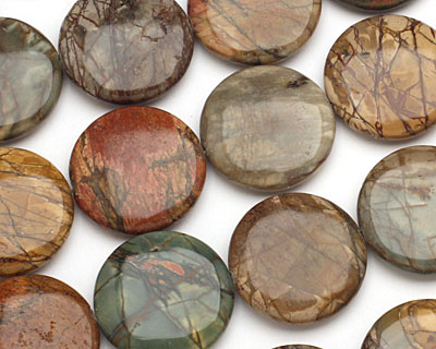Red Creek Jasper Puff Coin 30mm
