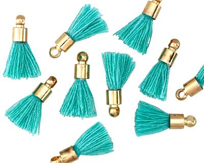 Turquoise w/ Gold (plated) Bead Cap Tiny Thread Tassel 15mm