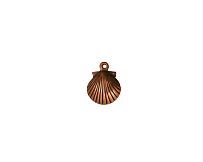 Stampt Antique Copper (plated) Tiny Seashell Charm 7.5x10mm
