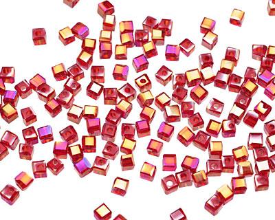 Garnet AB Crystal Faceted Cube 2mm
