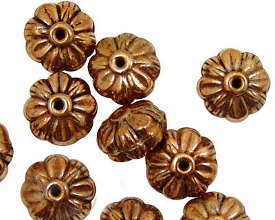 Antique Copper Carved Flower Rondelle 8x12mm
