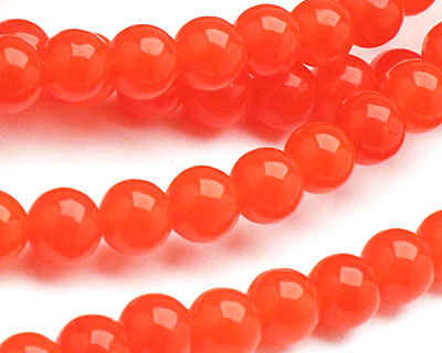 Neon Orange Colorful Jade Round 6mm