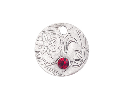 Nunn Design Antique Silver (plated) Decorative Small Circle Tag w/ Ruby Crystal 20mm