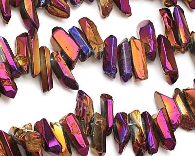 Metallic Gold Raspberry Coated Quartz Faceted Stick Drop 4-8x15-25mm