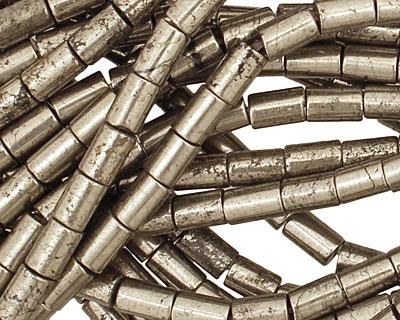 Golden Pyrite (silver tone) Tube 6-7x4mm