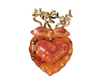 Patricia Healey Copper Spiral Heart Locket 37x56mm