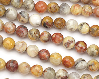 Crazy Lace Agate Faceted Round 10mm