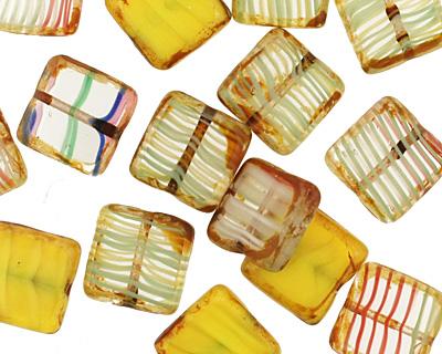 Czech Glass Citrus Zest Square 10mm