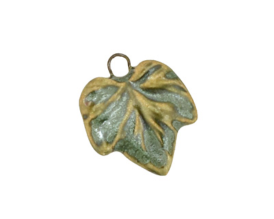 Earthenwood Studio Ceramic Leafy Small Wavy Leaf Charm 18x21mm