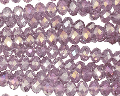 Lilac AB Crystal Faceted Rondelle 6mm