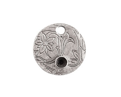 Nunn Design Antique Silver (plated) Decorative Small Circle Bezel Tag 20mm