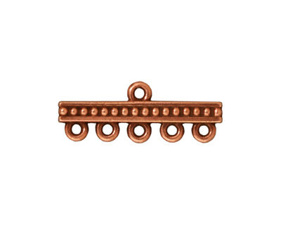 TierraCast Antique Copper (plated) Beaded 5-1 Link 10x26mm