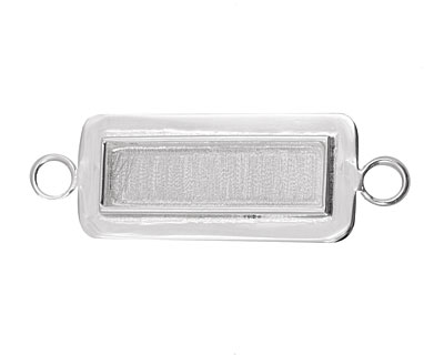 Silver (plated) Lipped Narrow Rectangle Bezel Link 12x36mm