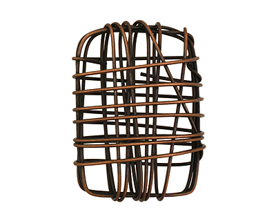 Antique Copper Wire Wrapped Rectangle 30x22mm