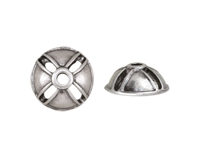 Antique Silver (plated) Shield Bead Cap 5x12mm