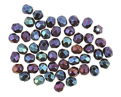 Czech Fire Polished Glass Iris Blue Round 3mm