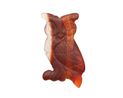 Carnelian (natural matte) Carved Owl 33-36x20-22mm
