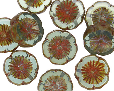Czech Glass Peruvian Opal Picasso Hibiscus Coin 15mm