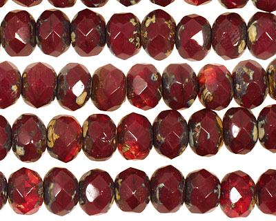 Czech Glass Oxblood Picasso Fire Polished Rondelle 6x9mm