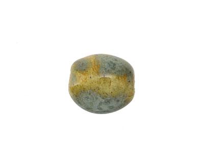 Gaea Ceramic Celedon on Buff Pebble Bead 13-15x11-13mm