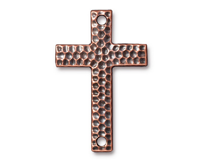 TierraCast Antique Copper (plated) Hammertone Cross Link 40x26mm