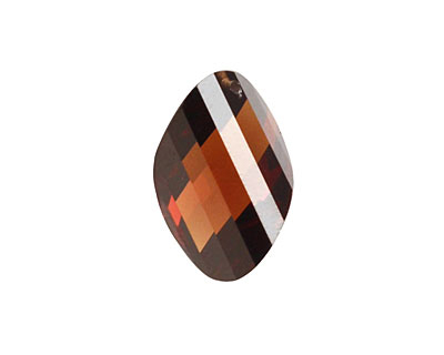 Coffee Faceted Twisted Oval 15x17mm