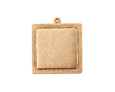 Nunn Design Antique Gold (plated) Raised Tag Small Square Pendant 30x33mm