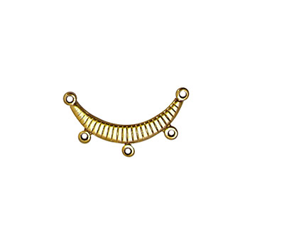 Stampt Antique Gold (plated) Ribbed Arc 3 Ring Connector 20mm