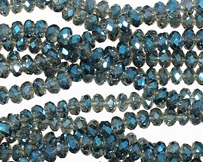 Luster Blue Crystal Faceted Rondelle 4mm