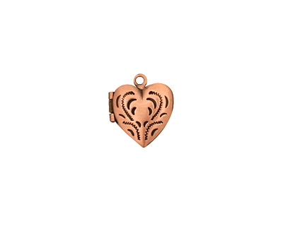 Antique Copper (plated) Tiny Pressed Heart Heirloom Locket 13x15mm
