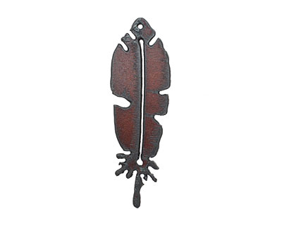 The Lipstick Ranch Rusted Iron Feather Pendant 20x68mm