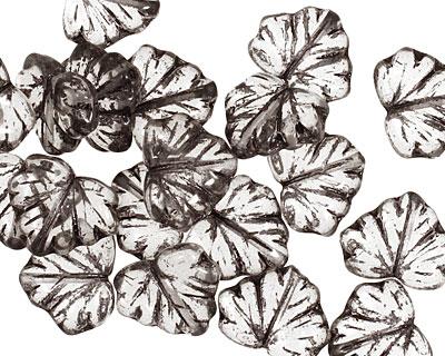 Czech Glass Black Diamond Maple Leaf 10x13mm